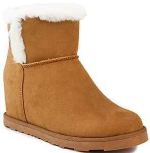 Juicy Couture Women's Firecracker Slip On Winter Boots Warm Winter Booties Cognac 6