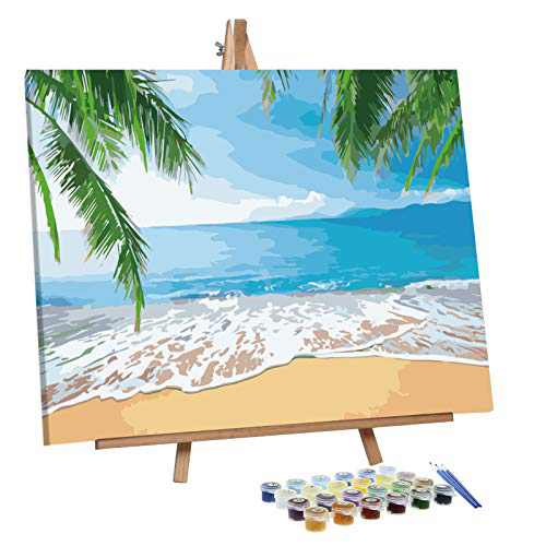 VIGEIYA Paint by Numbers for Adults Beginners with Framed Canvas and Easel Including Acrylic Paints Paintbrushes 16x20in (Beach)