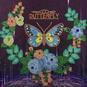 5D Diamond Painting, DIY Special Shaped Diamond Painting Kit, Butterfly Flowers, Partial Drill Crystal Cross Stitch Embroidery Diamond Picture for Home Wall Decor13.7×13.7Inch
