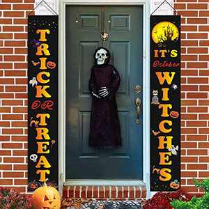 Biuonk Halloween Decorations Outdoor Porch Signs, Trick or Treat & It's October Witches for Front Door or Indoor Home Decor, Durable Halloween Home Decorations