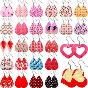 26 Pairs Valentine's Day Faux Leather Earrings Teardrop Long Dangle Earrings Lightweight Jewelry Accessory for Women Girls