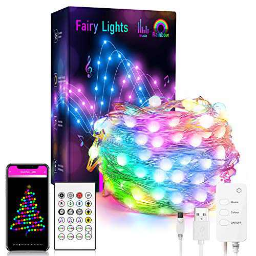 Dreamcolor 32.8FT LED Fairy String Lights RGBIC, WiFi Smart 100LEDs USB Rainbow Fairy Lights Sync to Music, Work with Alexa, Google Assistant, Android iOS (Not Support 5G WiFi)
