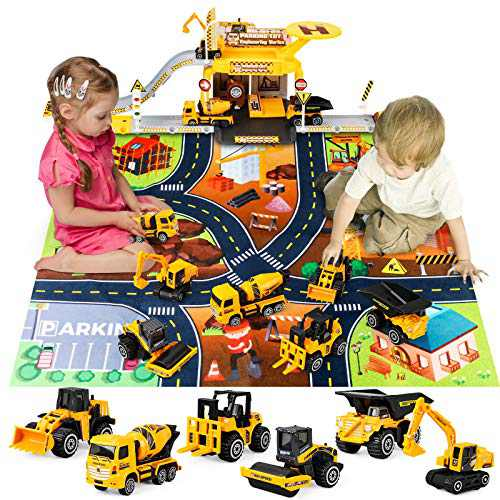 kyliandi HW668 Engineering Vehicle Truck Toy DIY Parking lot Set, 6 Construction Alloy Cars, 12 Road Signs and Catapult Track, Christmas Birthday Toys for 3 + Years Old Kids Boys Girls