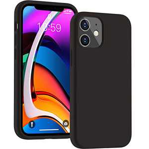 Cucell Compatible with iPhone 12 Mini case 5.4 inch(2020),Liquid Silicone Gel Rubber Full Body Protection Cover Shockproof Durable Drop Proof Shell-Black