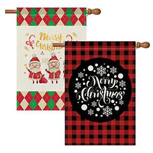 Yoruii 2Pcs Christmas Garden Flag, Merry Christmas House Flag, Home Decorative Xmas Outdoor Flag Sign, Vertical Double Sided Burlap Winter Seasonal Yard Outdoor Decor, Great Style D