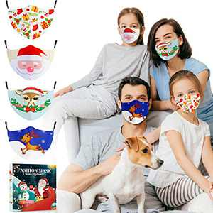 Face Mask Reusable for Kids Adults, Cloth Face Mask Washable with Filter Pocket, Adjustable with Ear Loops, Indoor Outdoor, 4PCS