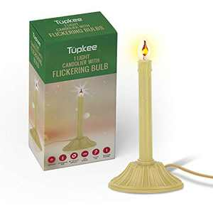Tupkee Christmas Candolier Window Candle – with Flickering Bulb – Includes Extra Bulb, 48 Inch Lead Wire & Suction Cup - Single Indoor - Flameless Electric Window Candle Candelabra