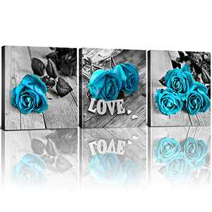 Blue Rose Wall Art Flower Room Decor Black and White Floral Canvas Prints for Master Bedroom Home Decoration Sets of 4 Pcs Love Couple Framed Painting for Farmhouse Bathroom Living Room Office 12x12""