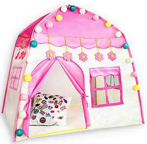 HIHIYO Princess Castle Play Tent for Girls,Large Kids Teepee Tents Playhouse Toys Foldable with Star Lights for Children or Toddlers Indoor and Outdoor Games,, (Flower Pink)