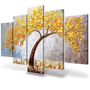 JIMHOMY Modern Floral Abstract Artwork 5 Piece Canvas Wall Art Gray Gold Flowers and Tree Wall Décor Prints Paintings for Living Room Office Decorations Ready to Hang Stretched Non-Handmade