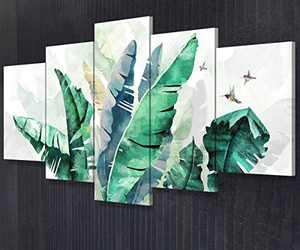 JIMHOMY Tropical Palm Leaves Banana Leaf Abstract Canvas Wall Art 5 Piece Green Palm Leaf Print Wall Décor Living Room Office Decorations Ready to Hang Stretched and Framed Artwork