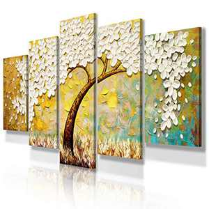 JIMHOMY Modern Floral Abstract Artwork Canvas Wall Art 5 Piece White Flowers And Tree Wall Décor Prints Paintings for Living Room Office Decorations Ready to Hang Stretched and Framed Artwork