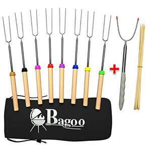 BAGOO Roasting Sticks Marshmallow Roasting Sticks BBQ Hot Dog Forks & Smores Skewers Multicolored 32-inch Telescoping Camping Accessories for Kids Safe (8 pk Wooden)