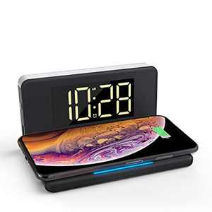 Pointuch Digital Alarm Clock with 10W Qi Wireless Charging, Bedside Night Light, Dimming Large LED Display with 4 Brightness, USB Charging Port, Compatible with iPhone Samsung AirPods (Black)