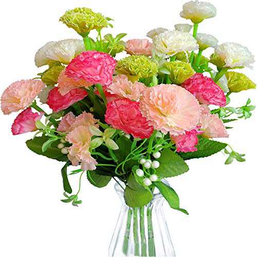 EverWin Artificial Fake Flowers for Decoration Table Centerpieces - Silk Faux Flowers Carnations Bouquets with Stem Bulk for Outdoor Kitchen Home Decoration Crafts Table Centerpieces (No Vase)