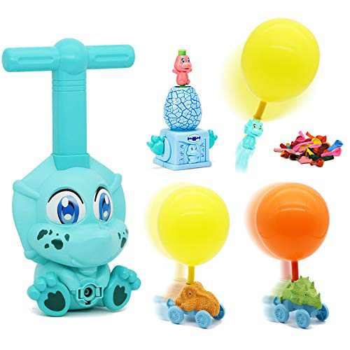 Dinosaur Balloon Powered Cars Balloon Racers with Monster Truck & 30 Balloons, Party Supplies Preschool Educational Toys with Manual Balloon Pump, Gift for Kids Boys Girls 3 4 5 6 7,Blue