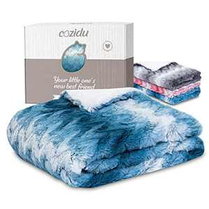 """Cozidu Luxurious Plush Reversible Baby Blanket for Boys, Ultra Soft Warm and Cozy Faux Fur, Infant or Newborn Receiving Blanket (Blue + White, 30""""x35)"""