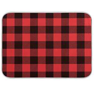 Dish Drying Mat for Kitchen Counter Absorbent Reversible Microfiber Sink Mats Dishes Rack Mat Bathroom Counter Pads Large Buffalo Plaid Red Black 18x24 inch