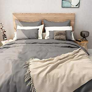 SUNNEEHOME Duvet Cover Sets 3 Pieces, Zipper Closure Soft Microfiber Comforter Cover, Grey (King Size)