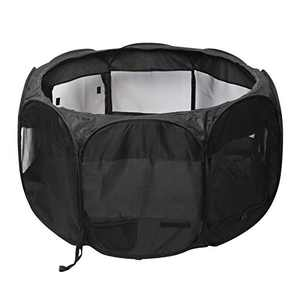 CUPETS Portable Pet Playpen Foldable Dog House Cave Outdoor/Indoor 600D Oxford Cloth Exercise Kennel with Removable Mesh Top Available for Dogs,Cats,Rabbits and Other Small Pets,Black
