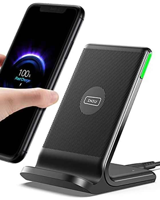INIU Wireless Charger, 15W Fast Wireless Charging Stand Qi-Certified with Sleep-friendly Adaptive Light & Dual Charging Modes for iPhone 12 11 Pro X XR 8 Plus Samsung Galaxy S20 S10 S9 Note 10 LG etc