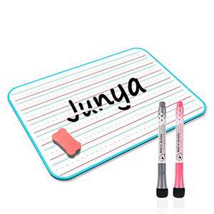 Junya Small Lined White Board for Kids (11.8 x 8.3inch),Double Sided Dry Erase Board for Home Online Teaching,Light Weight Kids Learning Writing Board with 2 Magnetic Dry Markers & 1 Eraser(Blue)
