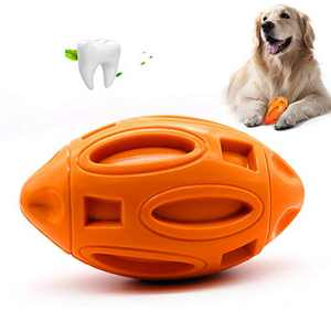 Spedtees Squeaky Dog Toys for Aggressive Chewers Non-Toxic Natural Rubber Almost Indestructible Tough Durable Dog Chew Toys for Medium and Large Breed Dogs - Orange