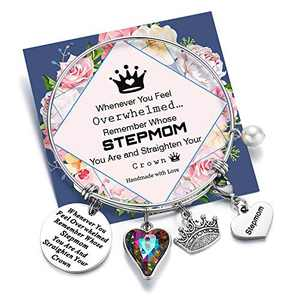 Turandoss Whenever You Feel Overwhelmed Remember Whose Stepmom Bracelet Straighten Your Crown Bracelet, Engraved Message Inspirational Bnagle Charm Bracelet for Stepmom Gifts (Stepmom Crown Bracelet)