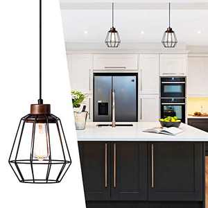 Industrial Hanging Light 7.28'' Coastal Pendant Light Rustic Black Cage Pendant Lighting Wooden Socket 78in Flexible Cord for Kitchen,Foyer,Balcony,Hallway,Garage,Basement,Spring Home Deco