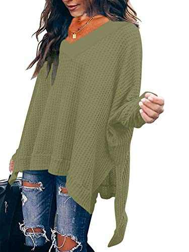 Womens Cozy Oversized Off Shoulder V Neck Tunic Tops Long Sleeve Loose Waffle Knit Shirt Tunic Blouses Army Green W299-junlv-XL