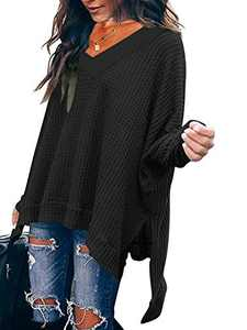 Womens V Neck Waffle Knitted Shirts Casual Solid Loose Fit Off The Shoulder Pullover Sweater Tunic Tops Black W299-hei-S