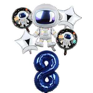 Space Birthday Party Balloons Decorations for Boys 8th Party, Large Astronaut Balloons Party Supplies (8)