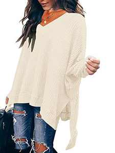 Women's V Neck Off Shoulder Batwing Sleeve High Low Hem Side Slit Waffle Knit Pullover Sweater Tunic Tops Apricot W299-xingse-M