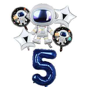 Space Birthday Party Balloons Decorations for Boys 5th Party, Large Astronaut Balloons Party Supplies (5)