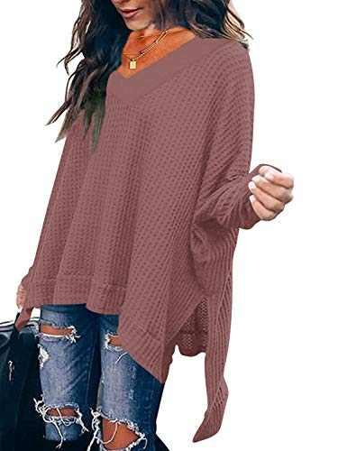 Women's V Neck Off Shoulder Batwing Sleeve High Low Hem Side Slit Waffle Knit Pullover Sweater Tunic Tops Rust W299-xiuhong-XL