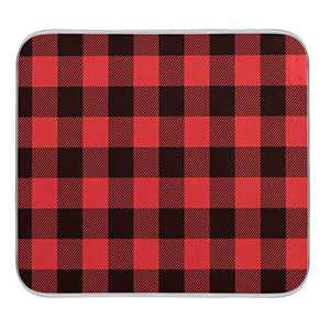Kitchen Dish Drying Mat Absorbent Water Insulation Dinnerware Protective Pad Dishes Rack Mats Bathroom Counter Mat Medium Buffalo Plaid Red Black 16x18 inch