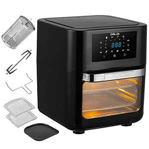 Air Fryer Oven+ Rotisserie,Multifunctional 8-in-1 Convection Oven, Touch Screen Presets Fry,Roast, Dehydrate & Bake, Auto Shutoff,Countertop Oven,6 Accessories,1700W,12.7QT, Family Size, Black