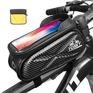 Yosky Bike Frame Bag Premium Bicycle Cell Phone Holder Bag Pouch Waterproof and Durable Handlebar Bags Phone Mount Top Tube Bag Bicycle Accessories Compatible with Phone Below 7 Inches