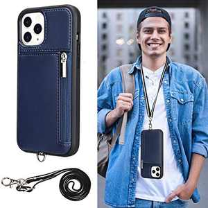 Labato iPhone 12 Pro Leather Wallet Case,for iPhone 12 Lanyard Case,Wrist Strap Card Holder Crossbody Case for iPhone 12/12 Pro,Wallet Case for iPhone 12, Zipper Cover for iPhone 12 Pro (6.1inch,Blue)