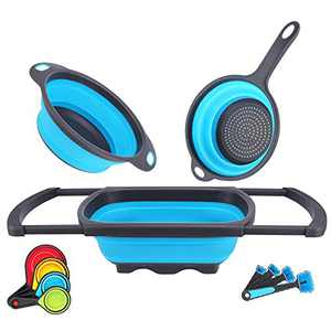 Collapsible Colander Strainer Colander Collapsible Colanders & Food Strainer Over the Sink Colander with Extendable Handles for Draining Pasta/Vegetable/Fruit (Blue)