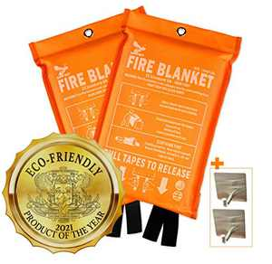 Supa Ant Eco-Friendly Fire Suppression Blanket (39.3x39.3in) CE Certified, Reusable + 2 Hooks, Flame & Heat Retardant, Emergency Fire Blanket for Home Kitchen Office Car (High Visibility Edition)