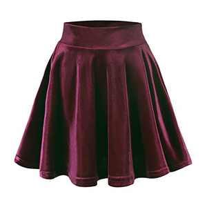 EXCHIC Women's Velvet Basic Versatile Stretchy Flared High Waist Mini Skater Skirt (Burgundy, S)