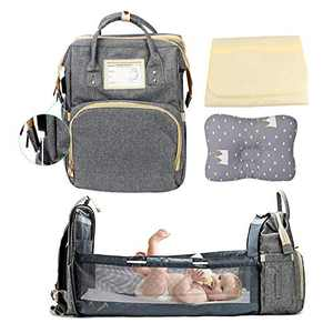 4 in 1 Diaper Bags Backpack with Foldable Baby Bed Waterproof Travel Bassinet Baby Bags USB Charging Port, Large Capacity Baby Crib with Small Pillow