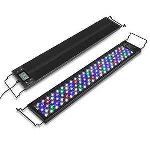 AMZBD LED Aquarium Light with Timer for Plants, Dimmable 7 Colors, Programmable, Waterproof, Full Spectrum Fish Tank LED Light with Extendable Brackets (24 - 30 inch(34W))