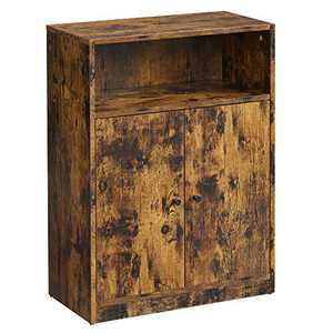 """VASAGLE Industrial Storage Floor Cabinet, Door Adjustable Shelf Compartment, 23.6"""" W, Rustic Brown"""