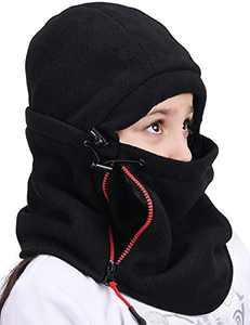 Kids Winter Balaclava Ski Fack Mask Fleece Neck Warmer Snow Hats with Zip Pocket (Black, Hat Size)