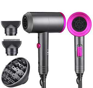 Ionic Hair Dryer, Professional Hair Blow Dryer Hot/Cold Air, 1800W Powerful AC Motor, Negative Ion Hairdryer Fast Drying, 2 Speed/3 Heating with 2 Nozzles&1 Diffuser, for Women Men Kids Salon Travel