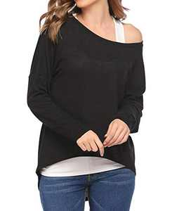 Chigant Women's Batwing Long Sleeve T Shirt Off Shoul Pullover Tops Oversized Shirt Black Small