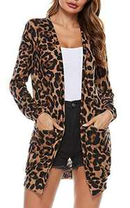 Womens Leopard Printed Cardigans Long Sleeve Knit Cardigan Sweater with Pockets,S