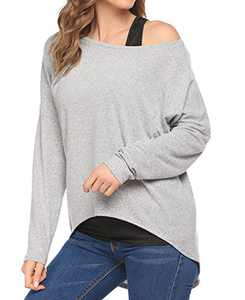 Chigant Women's Batwing Long Sleeve T Shirt Off Shoul Pullover Tops Oversized Shirt Light Grey Large